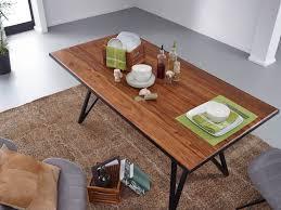 finebuy esstisch sheesham massivholz metall esszimmertisch küchentisch loft massiv holztisch mit metallgestell schwarz
