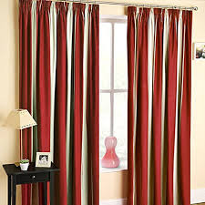 Thermal Lined Curtains Australia by Twilight Striped Print Two Tone Red Natural Cream 46
