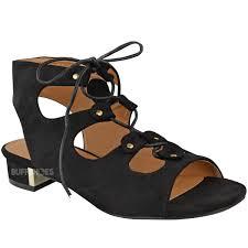 new womens ladies low heel wedge summer sandals tie up comfort