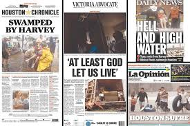Front Pages From The Houston Chronicle Victoria Advocate New York Daily News And La