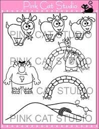 Three Billy Goats Gruff Clip Art Set