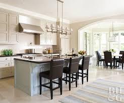 Open Kitchen With Dark Wood Stools