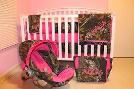 7pc Camo Mossy Oak fabric & pink crib bedding nursery set with
