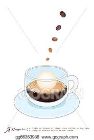 A Glass Cup Of Affogato Isolated On White Background Is Scoop Vanilla Gelato Or Ice Cream Topped With Shot Hot Espresso Clipart