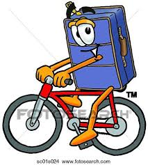 Clipart Of Suitcase Riding Bike Sc01s024