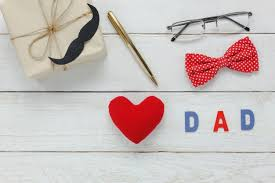 Top View Happy Father Day Red Heart And Word