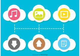 100 Flat Cloud Colorful Computing Icon Vectors Download Free