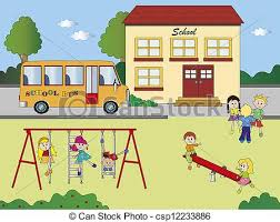 Playground clipart school ground Pencil and in color playground
