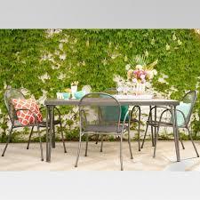 Carmack 6pk Mesh Patio Dining Chairs Black Threshold™ Tar