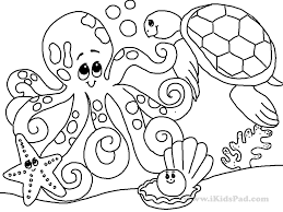 Printable Coloring Page Sea Ocean Animals