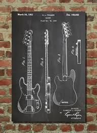 Fender Bass Guitar Patent Wall Art Poster This Is Printed On 90 Lb