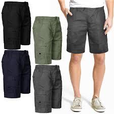 mens knee length shorts cargo combat pockets summer polyester