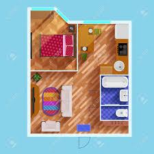 bunte grundriss der wohnung mit einem schlafzimmer wohnzimmer küche bad wc und möbel flach vektor illustration