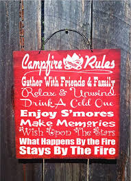 Campfire Sign Camping Decor Camp Camper Rules