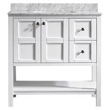 Vinnova Florence 36 Inch White Mirrorless Single Vanity With Carrara Marble Top
