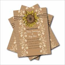 20 Pcs Rustic Country Sunflower Wedding Invitations Lace Bridal Shower Engagement Invites Barn Wood Decor