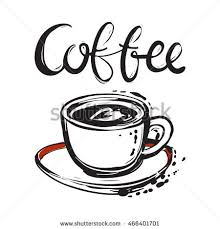 Cute Greeting Card With Cup And Saucer Coffee Lettering Vector Hand Drawn Graphic Fashion