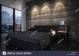 luxuriöse schlafzimmer bei dämmerung mit unten leuchtet