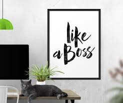 Boss Day Office Decorations by Like A Boss Quote Poster Watercolor Quote Wall Art