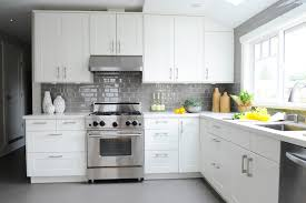 kitchen with gray subway tiles design ideas