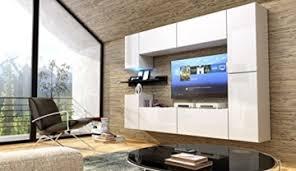 future 13 wohnwand anbauwand möbel set wohnzimmer schrank wohnzimmerschrank hochglanz weiß schwarz led rgb beleuchtung front hochglanz weiß