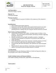 resume description of preschool cover letter kindergarten resume exle kindergarten