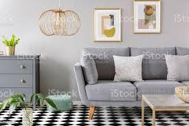 gold le innen grau wohnzimmer mit poster über grauen sofa im karierten stock echtes foto stockfoto und mehr bilder behaglich