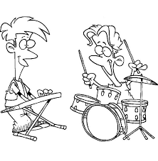 Drummer Boy Jamming With Friend Playing Keyboard Colouring Page Coloring
