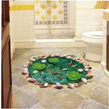 3d lotus teich fisch boden aufkleber badezimmer wohnzimmer fussboden dekoration mural für hauptdekor wandtattoo tapeten aufkleber