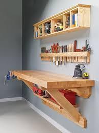wall mounted workbench woodsmith plans shop organization