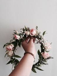 Bohemian Flower Crown Light pink roses baby s breath and dark