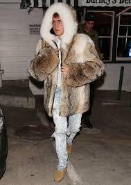 justin bieber u0027s fur coat continues his head scratching year in