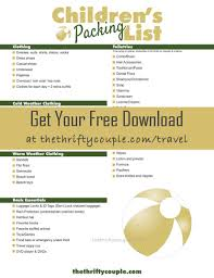 Free Printable Childrens Vacation Packing List Save Time And Money Dont Forget Anything