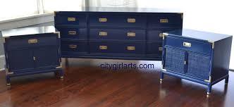 Henredon Bedroom Set by Henredon Campaign Dresser And Nightstands Sapphire Blue Vintage
