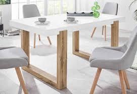 inosign esstisch solid mit schönem holzgestell und einer weißen hochglanzfarbenen tischplatte in zwei verschiedenen größen