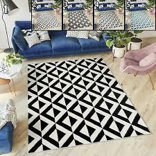 designer karo teppich skandinavisch schwarz grau geometrisch
