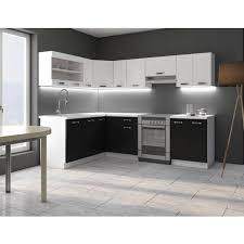 eckküche küche omega 170x250 cm küchenzeile küchenblock winkelküche schwarz weiß