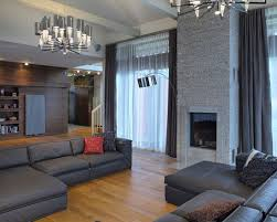 modern living room with cool dark gray sofas also unique