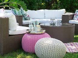 runde rattan gartenmöbel lounge braun weiß sitzgarnitur rund für terrasse garten