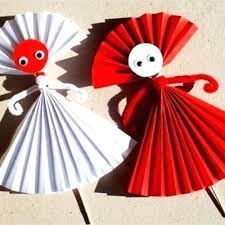 Paper Arts And Craft Construction Flowers Ball Easy Doll For Kids