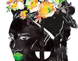 Boho Afro Natural Hair African Black Woman Art Print Poster Dark Skin Ethnic Girl Melanin Queen