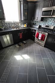 diagonal gray floor tile detail contemporary kitchen
