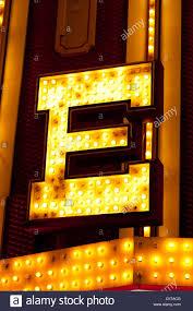 light bulb sign for letter e las vegas usa stock photo royalty