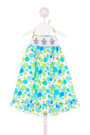 claire and charlie blue and green polka dot dress with turtle