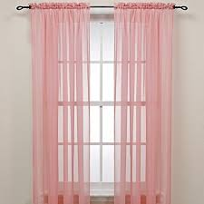 pink rod pocket sheer window curtain panel bed bath beyond