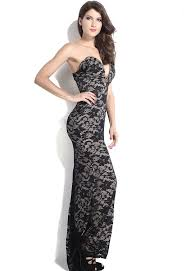 dl black lace illusion plunging v neck strapless gown