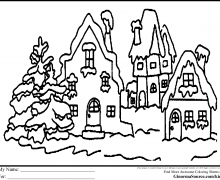 Christmas Village Coloring Pages Free Printable Holiday Classy Idea 19 On
