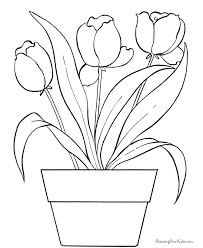 Printable Flower Tulip Coloring Pages