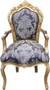 casa padrino barock esszimmer stuhl blau muster gold mit armlehnen limited edition