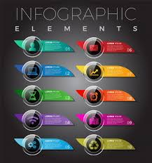 Modern Infographic Elements Mobile Buttons Template Design Premium Vector
